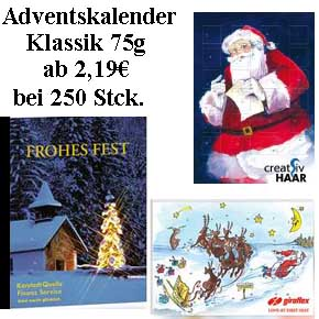 Schoko-Adventskalender Klassik 349x247mm